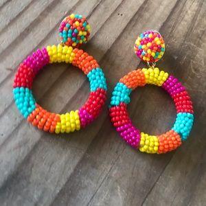 Colorful beaded ring earrings